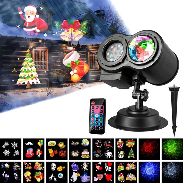2-in-1 Weihnachten Projektor Lichter mit Meereswellen 12 Bewegungsmuster Festliche Landschaft LED-Leuchten mit Fernbedienung für Indoor Outdoor Xmas Them