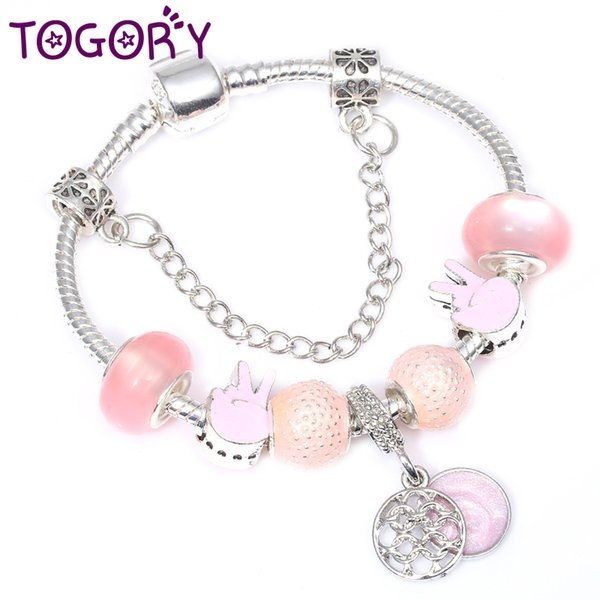 TOGORY Dropshipping Fashion Style European Crystal Charm Bracelet For Women With Peace Symbol Beads Fine Bracelet Jewelry
