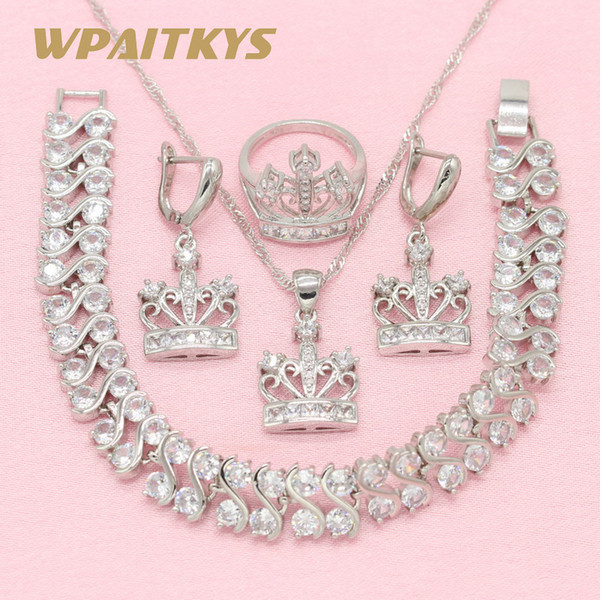 Crown Exquisite Multicolor White 925 Silver Jewelry Sets For Women Earrings Bracelet Pendant Necklace Ring Free Gift Box