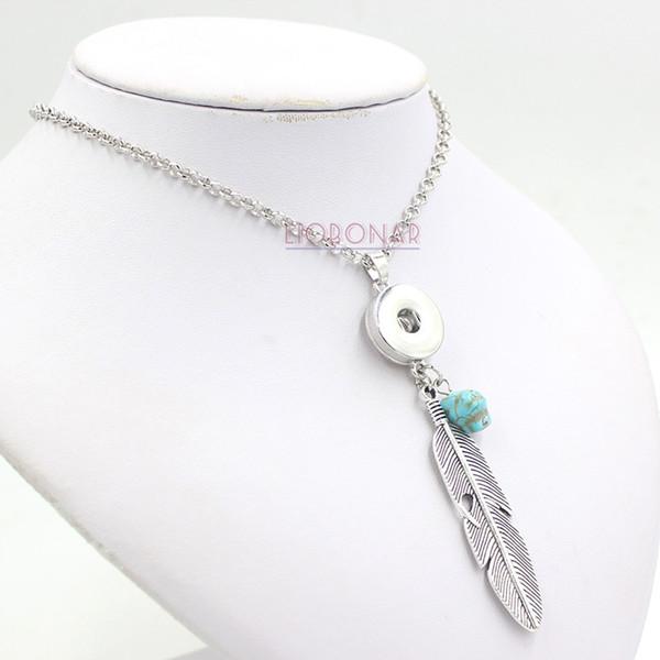 Neue Ankunft Austauschbare Snap Schmuck Böhmen Stil Feder Anhänger Halskette Austauschbare Snap Halskette für Frauen Fit 18mm Druckknopf