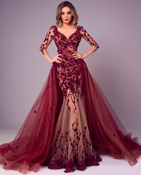 Fabulous Mermaid Lace Evening Dresses With Detachable Train Long Sleeves V Neck Plus Size Formal Dress Appliqued Beaded Prom Gowns