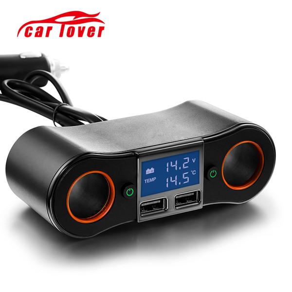 12V 24V Dual USB Car Cigarette Lighter Adapter Voltage Tester 2 Socket Splitter Independent Switch High Power 120W Car Charger
