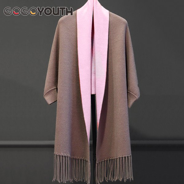 Gogoyouth Tassel Long Cardigan Female 2018 Autumn Tricot Sweater Women Jacket Knitted Cape Poncho Women Winter Top Jumper Kimono Y1891105