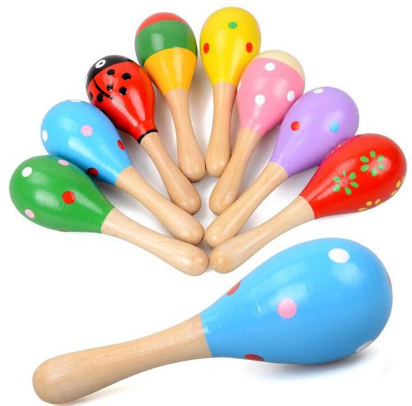 Shakers Baby tiene juguetes inteligentes Orff instrumentos de madera de dibujos animados bolas de arena martillos de arena de madera ejercicios para escuchar y sonar