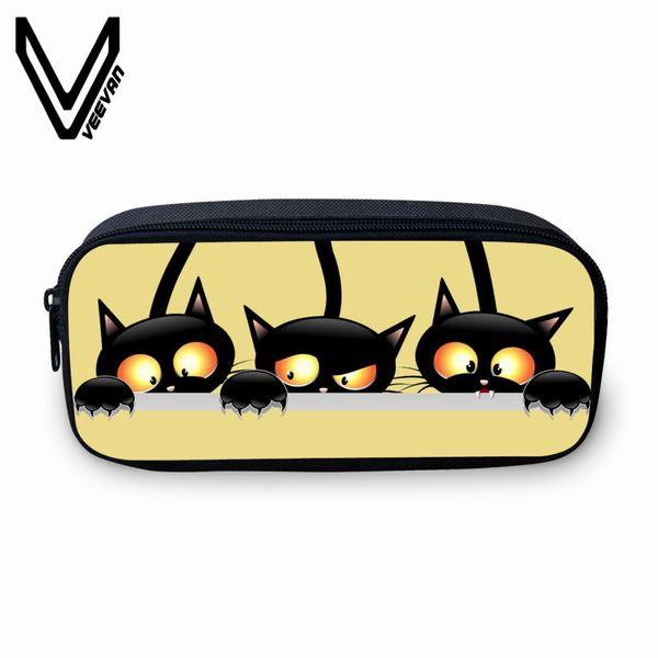 VEEVANV Fashion Women Wallets Cool Blck Cat Pencil Case 3D Cartoon Wallets Printing Purse Pen Pouch Children School Stroage Bags