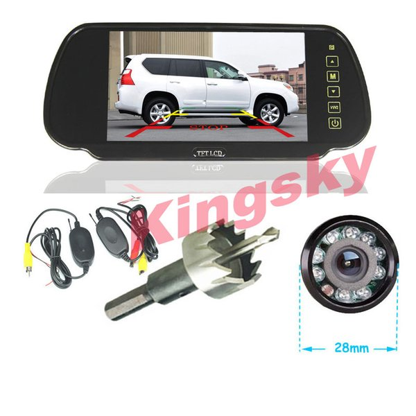 """Wireless Car Rear View Kit 9 LED IR Night Vision Reverse Camera + 7"""" TFT LCD Screen Monitor Mirror Parking Assistance System"""