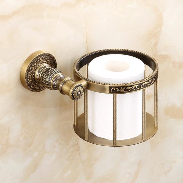 European Antique Paper Basket Bathroom Wall Mounted Vintage Carved Toilet Paper Box Zinc Alloy Roller Paper Holder Bathroom Accessories