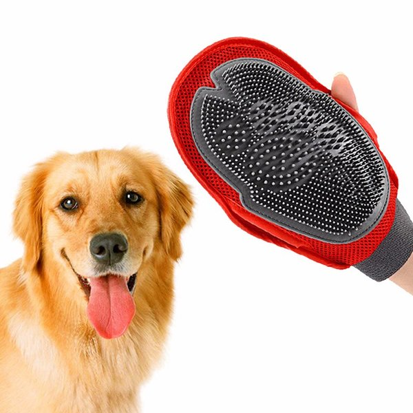 1pc Dog Cat Hair Comb Cleaning Brush Comb Animal Massage Hair Removal Dog Bath Glove Red Pet Grooming Products YL893016