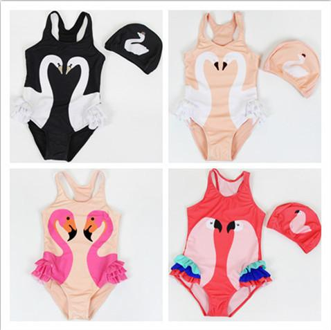 top popular Toddler Kids Swimwear 2018 Baby Girls Flamingos Swimsuit Girls Children Summer Swimwear Bathing Jumpsuit+Swiming Cap 2Pcs Costume Beachwear 2021