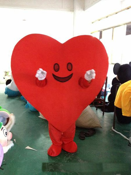 2018 de alta calidad del corazón rojo traje de la mascota de dibujos animados lindo fábrica de ropa personalizada personalizada accesorios personalizados caminar muñecas muñeca ropa