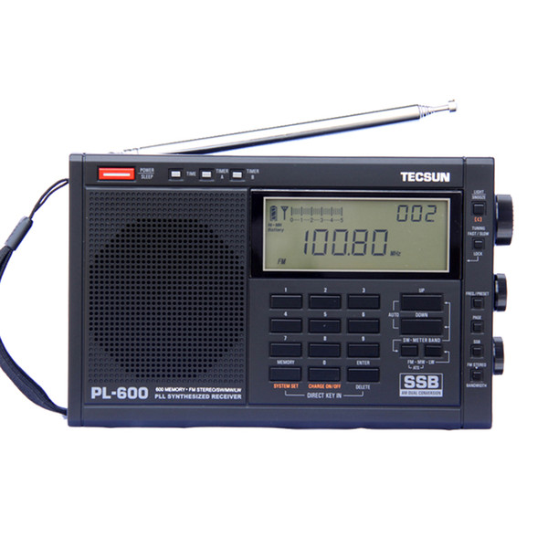 Sintonizzazione digitale TECSUN PL-600 FM / MW / S-SBB / PLL a banda larga Ricevitore radio stereo SYNTHESIZED (4xAA) Radio PL-600