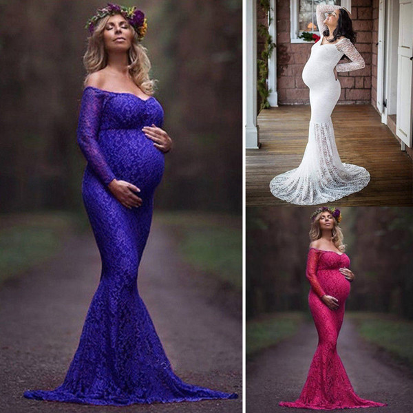 top popular Pregnant Womens Maternigy Maxi Dress Lace Gown Maternity Photography Maternity Photo Props 2020