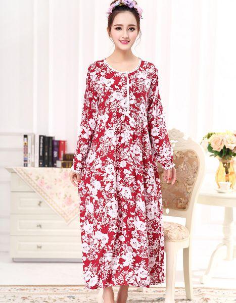 8fb787914b8f6 Fdfklak M-XXL Large Size Cotton Long Sleeve Print Maternity Sleepwear  Nursing Nightgown Maternity Night Dress Nightwear F82