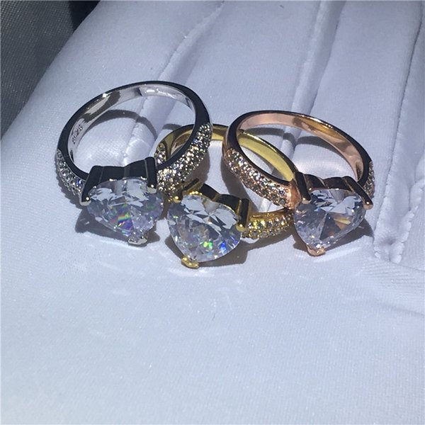 Romantic Women Heart Jewelry 3Colors Gold Filled Wedding Band Ring Clear AAA Cubic Zirconia 3 Prong Setting Eternal Gift Size 5-10