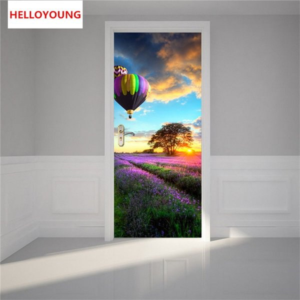 Hot Air Balloon Wall Stickers 2 pcs/set DIY MuralBedroom Home Decorative PVC Waterproof Imitation 3D Door Stickers