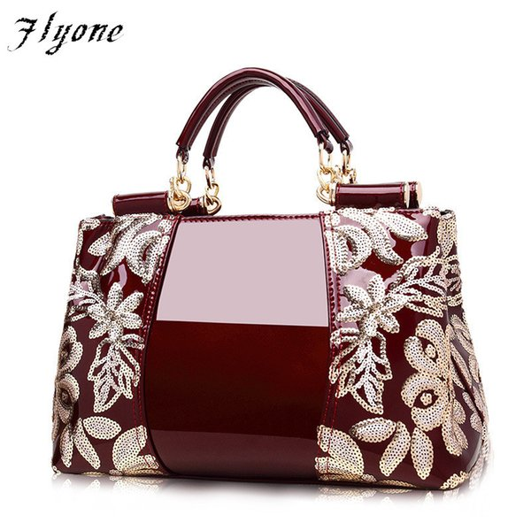 2019 Fashion Flyone women bags High-end counters genuine leather patent leather handbags women's handbags shoulder bags luxury famous brand