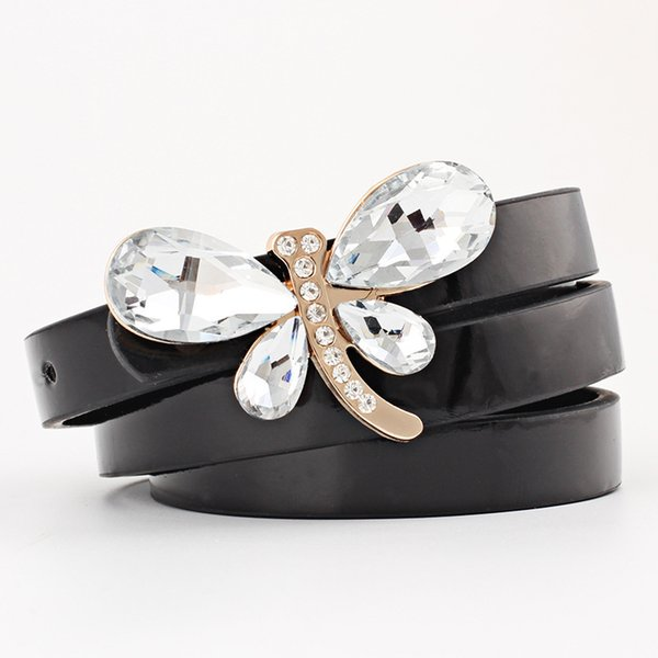 Woman Belt Solid Belt Female Multicolor Small Candy Color Thin Leather Dragonfly Rhinestone Set Buckle