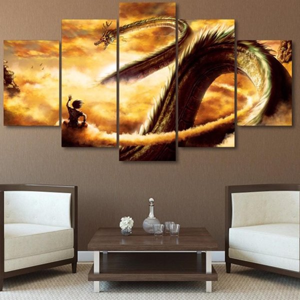 Modular Canvas Poster Modern Painting 5 Panel Animation Dragon Ball Z Wall Art HD Printed Pictures For Living Room Home Decor