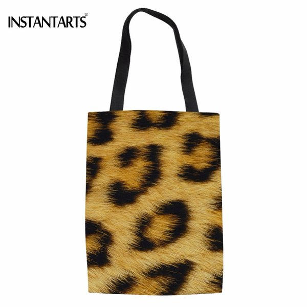 INSTANTARTS Fashion Leopard Print Women Cotton Shopping Bags Friendly Eco Bags for Woman's Shopper Reusable Protection Tote
