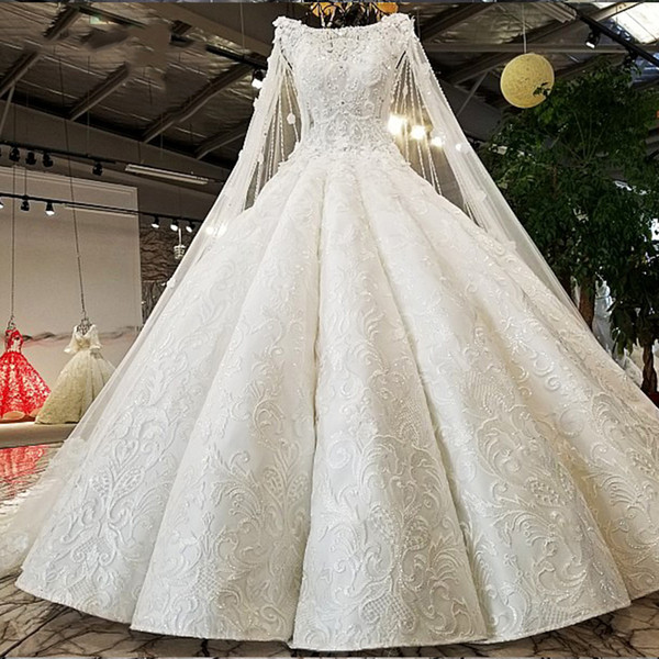 Ls02174 Cap Sleeves Wedding Dress Rhinestone Appliques White Lace ...
