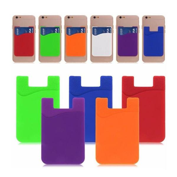 Ultra-slim auto adesiva Silicone Stick-on id de cartão de crédito carteira caso bolsa bolso de manga para Smartphones Mix cores