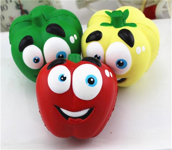 200pcs funny Vegetable Squishies Chilli Squishy Pepper Jumbo Slow Rising Fruit Squeeze Green Toy Simulation Chili Y123