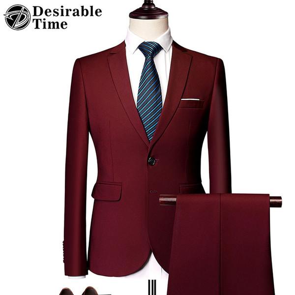 Tuxedo Red Tute da uomo 5XL 6XL Classic Abiti da sposa uomo Slim Fit Two Button Nero Tuta da uomo Costume Homme DT530