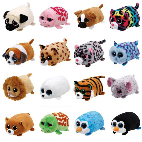 2018 Cute TY Beanie Boo Teeny Tys Plush - Icy the Seal 9cm Ty Beanie Boos Big Eyes Peluche Juguete Muñeca Purple Panda Baby Kids Regalo Mini juguetes