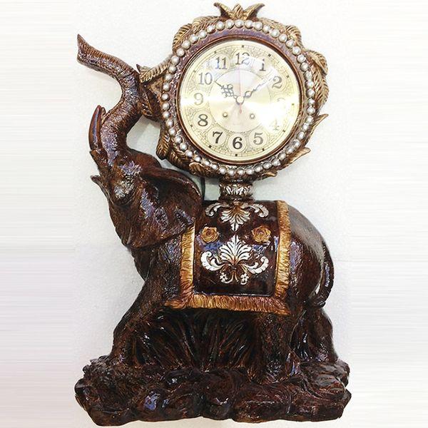 tuda 10inch vintage design elephant carved resin table clock brown large table clock high grade villa decor
