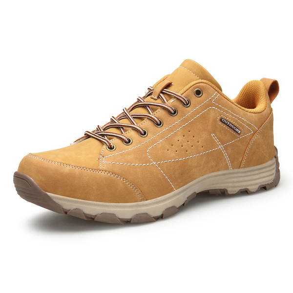 Plus Size 46 Brand Hiking Shoes For Men Leather Hiking Boots Khaki Mountain Climbing Shoes Outdoor Mens Trekking Sneakers