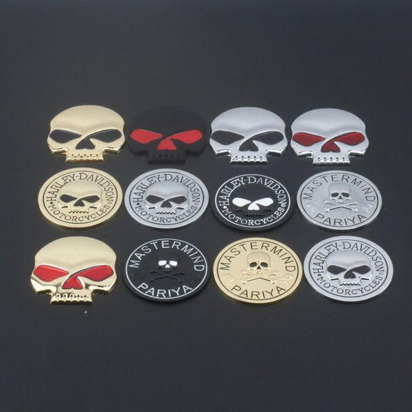 Personalidad del coche Logotipo del cráneo de metal Etiqueta engomada modificada de la aleación del cinc del cráneo Pegatinas de la cola del cuerpo del coche Etiquetas de la insignia con el logotipo de Harley
