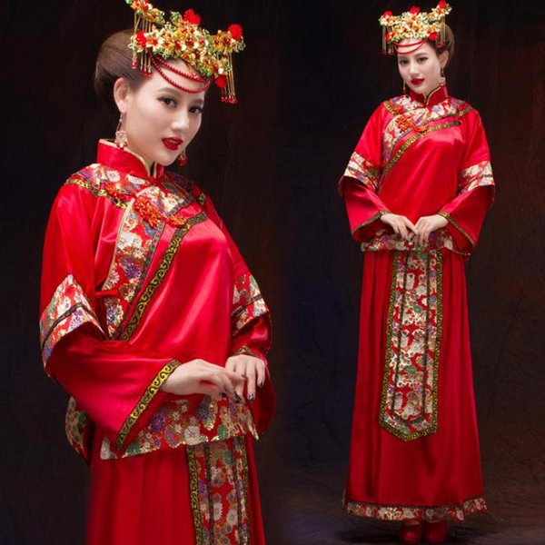 Floral Elegant Women Cheongsam Red Chinese Bride Wedding Dress Gown Toasting Clothing Vintage Slim Qipao Marriage Suit S M L