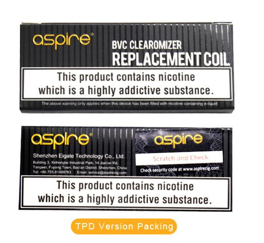 Authentic Aspire K1/K2//ET/ET-S/CE5/CE5-S BVC Coils Head 1.6/1.8/2.1 ohm Replacement Atomizers