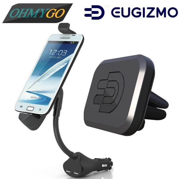 Car Mount with Dual USB Charger Holder + Vehicle Air Vent Magnetic Mount Cradles for Samsung Lenovo LG etc. Universal Smartphones