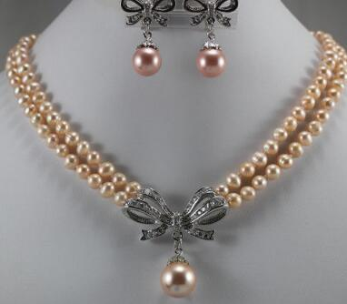 Free Shippingnoble 2 row 7-8mm pink shell pearl necklace with pendant and earrings set for lady
