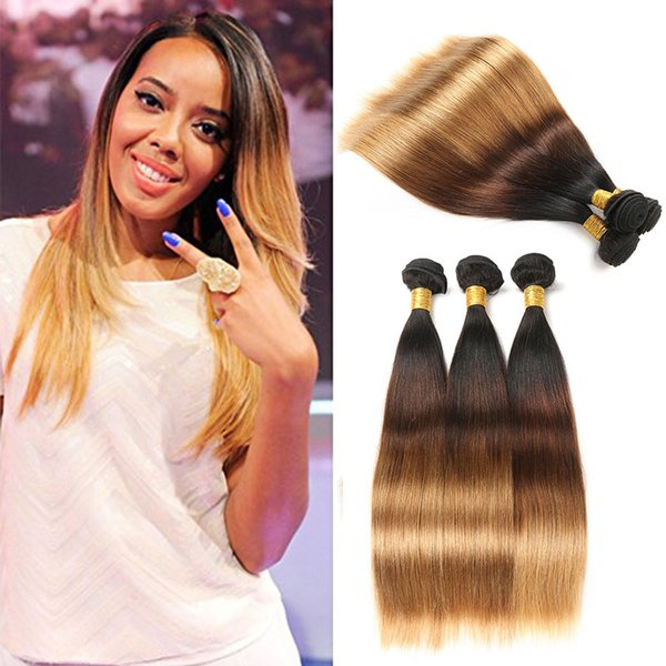 Ombre Straight Bundles Unprocessed Mongolian Ombre Silky Straight Bundles Human Hair Weave Weft Extensions 1b/4/27 Color Free Shipping