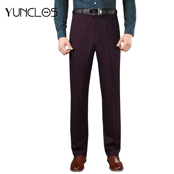 YUNCLOS Formal Suit Pants For Men Purple Pantalon Hombre Full Length Trousers Men Classic Design Business Casual Long Pant