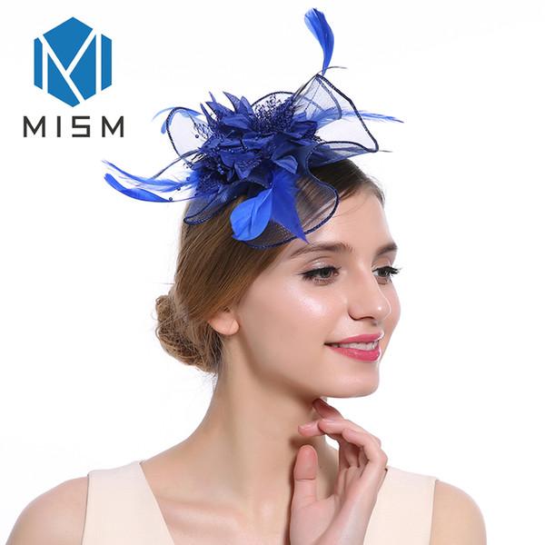 M MISM Classic Elegant Womens Feder Fascinator Haarnadeln für Party Kopfbedeckungen Haarspange Hüte Haarband Zubehör Kopfschmuck
