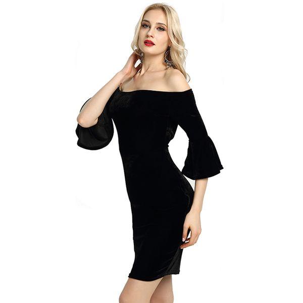 Sexy Off shoulder Ruffle sleeve Pleuche dresses Women's Slash neck Bodycon mini party dresses Club wear dress for ladies