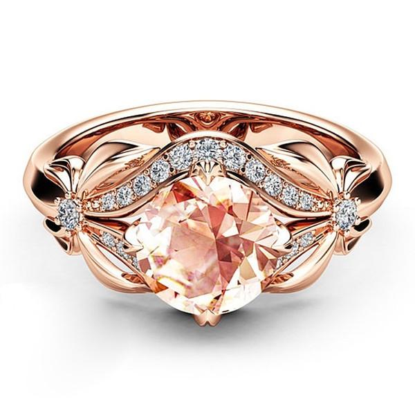 Royal Topaz Aquamarine Garnet & Diamond 14K Rose Gold & Yellow Gold Silver Plated Gift Wedding Engagement Band Ring Size 5-10