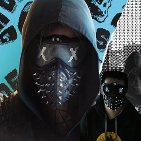 Oyunu İzle Köpekler 2 Maske Marcus LED Işık Maske Emoji Değiştirilebilir Holloway Anahtarı Cosplay Punk Gotik Perçin Yüz Maskesi Cadılar Bayramı