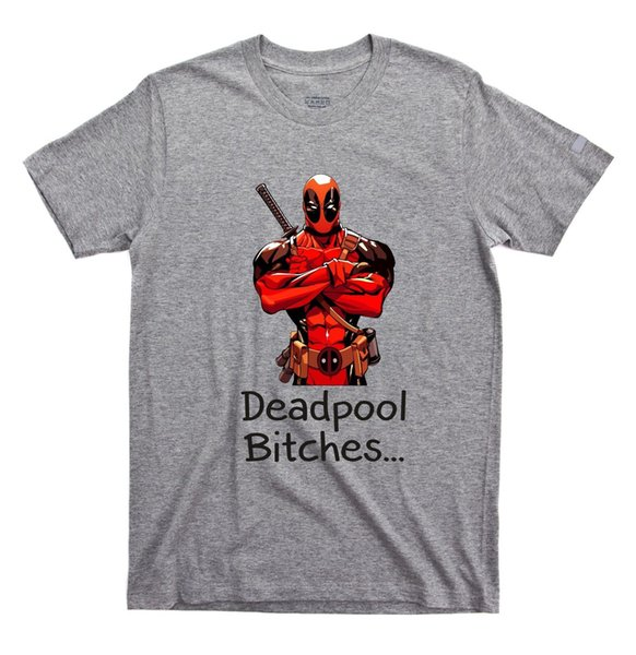 Deadpool T-shirt Bitches bad ass movie retro film yolo tumblr funny inspired 1 Cartoon t shirt men Unisex New Fashion