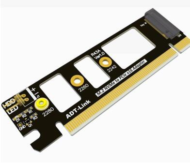 top popular Genuine High Quality PCIE 3.0 m.2 NVME M-Key pci-e x4 To x16 ADP Extended adapter card Stable Running For ADT-Link PCIe3.0x4 32G bps LED HD 2021