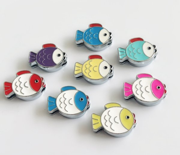 10pcs Mixed color 8MM Enamel Fish Slide Charms DIY Accessories Fit 8mm Pet Collar Belts Bracelets