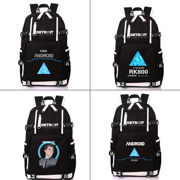 Игра Детройт Стань Человеком Рюкзак Холст ПК 800 Рюкзак Молния Подросток школьный рюкзак Моды рюкзак Мужская сумка для ноутбука