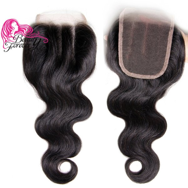 Beauty Forever Brazilian Human Hair Lace Closure 10-20inch Body Wave Hair Closure 4*4 Three Part Closure Natural Color Cheap Hair Extension
