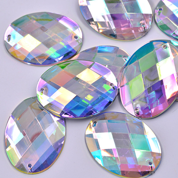 JUNAO 30*40mm Big Size Sew On Crystal AB Oval Rhinestones Flatback Clear Acrylic Strass Sewing Crystals Stones Scrapbook Beads