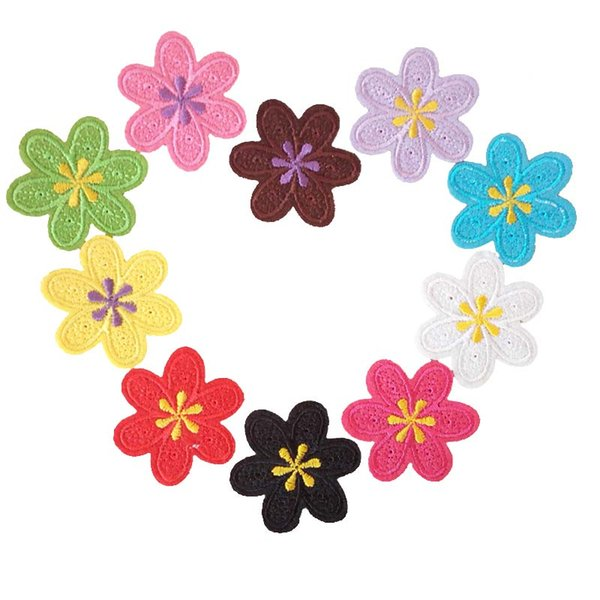 Embroidered cloth patch Flower shape sewing decorative appliques Back gum Ironing stick patch Dia. 4.8cm clothing accessories DL_CPIF003