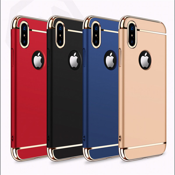 Ultra Thin Full Protection Electroplated 3 in 1 Case Hard PC Cell Phone Luxury Back Cover for iPhone X Xs Max XR 8 6 6S 7 Plus S9 S8 Note 9