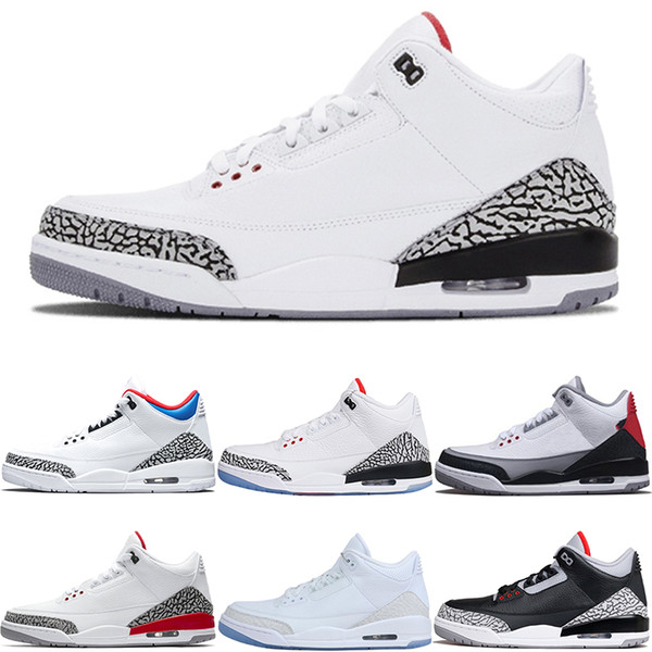 Nike Air Jordan 3 Retro Erkekler Basketbol Ayakkabı Katrina Tinker JTH NRG Saf Beyaz Kore Gerçek Mavi Uluslararası Uçuş Yangın Kırmızı Spor Sneakers e ...